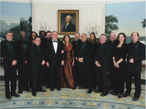 Jellyroll at the White House with President George H.W. Bush and First Lady Laura Bush
